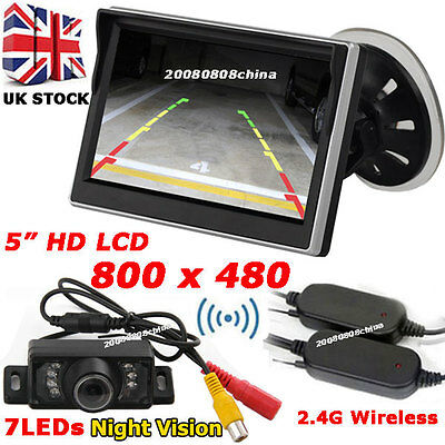 "Car Rear View Kit 5"" HD Color LCD Monitor +Wirelesss IR Reversing Parking Camera"
