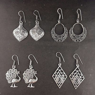 WHOLESALE LOT 4 pcs 925 STERLING SILVER PLATED TRIBAL CASUAL ETHNIC EARRINGS