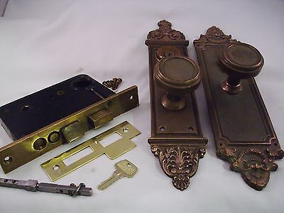 Antique Cast Bronze Door Knob Entrance Set Cylinder Key Thumb Turn #685