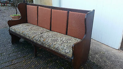 Church Pew  - Old - Dark Coloured Wood - Upholstered - Vintage - Shabby Chic