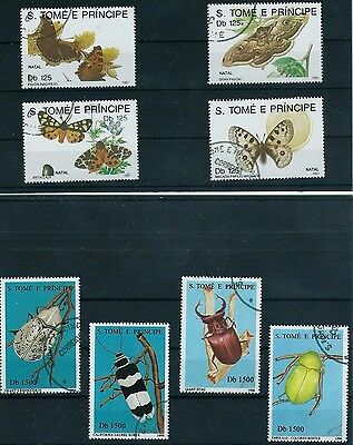 """Sao Tome & Principe """"NATAL"""" 2 SETS X 4 STAMPS INSECTS & BUTTERFLIES MINT USED"""