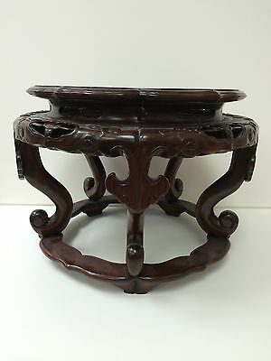 Antique Chinese Carved Hardwood Stand Late 19th Or 20th Century?