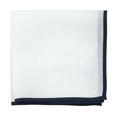 100% Linen Solid White with Navy Blue Border Pocket Square