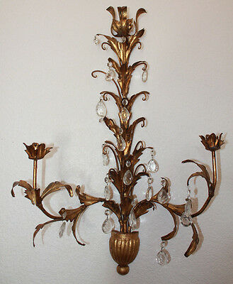 Vintage Italian Wall Sconce Gold Tone Crystal Metal 17 Prisms Hollywood Regency