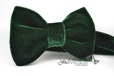 Velvet Bow Tie* Sizes 0-10*Green Velvet Handmade Bow tie