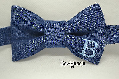 Denim Bow Tie* Size 0-3y*Personalized with Monogram bow tie*Handmade
