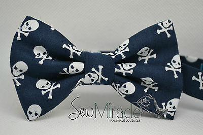 Cotton Bow Tie* Sizes 0-10*Scull/crossbone Cotton Handmade Bow tie*Pirate bow