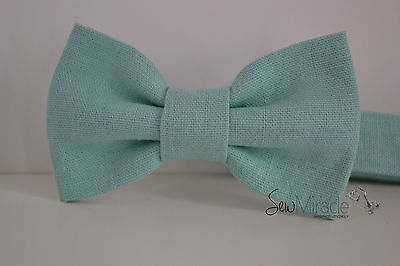 Linen Bow Tie* Sizes 0-10*Mint Linen Handmade Bow tie