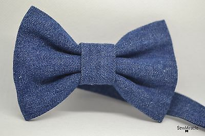 Denim Bow Tie* Sizes 0-10*Blue Denim Handmade Bow tie