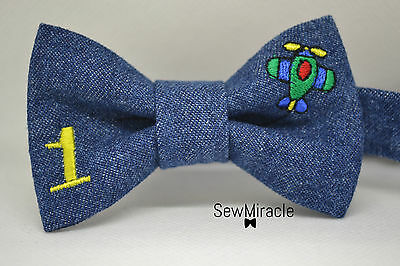 Denim Bow Tie* Size 0-3y*Personalized Birthday bow tie*Handmade