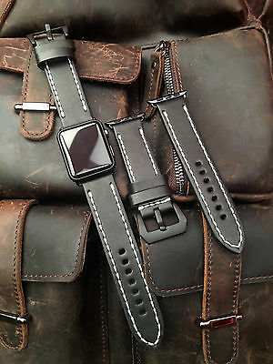Black Leather Watch Strap Band For Apple Watch 42mm Series 1 2 Black Fixings W5