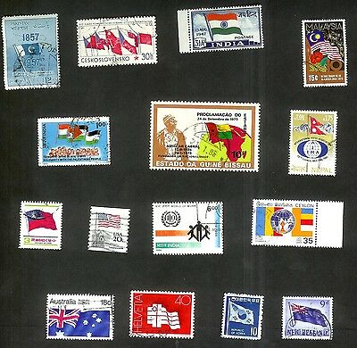 Flags Of The World - Fifteen Flag Stamps