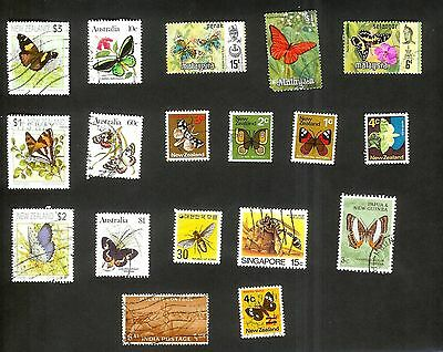Butterflies And Insects - 18 Stamps