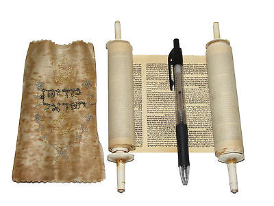 Vintage Small Hebrew Sefer Torah Scroll Book Jewish Holly Bible Judaica Israel
