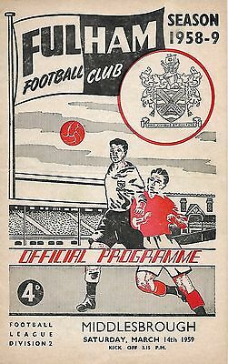 58/59 FULHAM v MIDDLESBROUGH ~ PLAYED @ CRAVEN COTTAGE on 14th MARCH 1959