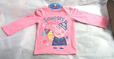 Peppa Pig Long Sleeve Shirt Top Size 2T  Snuggly Hugs  New With Tags