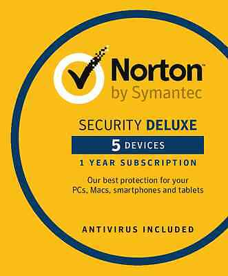 Norton Security Deluxe 2016 - 5 Devices, 1 Year- PC, Mac, Android, iOS- DOWNLOAD