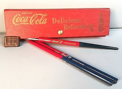 Vintage 1937 Coca Cola Pencil Pen Box With Eraser