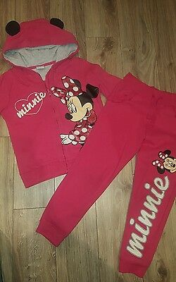 Minnie Mouse girls jogging suits hoodie age 5-6 years red sparkle