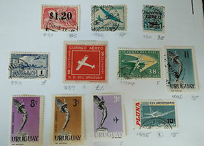 Uruguay Airmail Stamps 2 pages Some mint