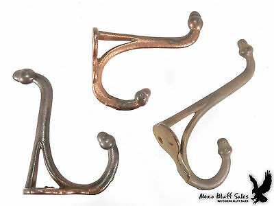Lot of 3 Antique Cast Iron Wall Coat Hat Hardware Hooks Acorn Architecture