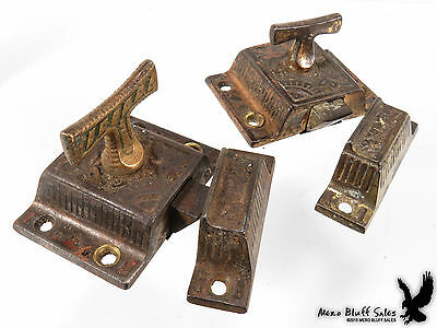Pair Matching Antique Victorian Eastlake Cabinet 'T' Latches w/Keepers WOW