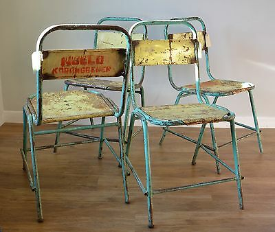 4 X Industrial Vintage Retro Chair steel stacking stylish yellow and turquoise