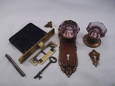 Antique Purple Amethyst  Door Knob Set Mortise Lock Key Door Set    #660