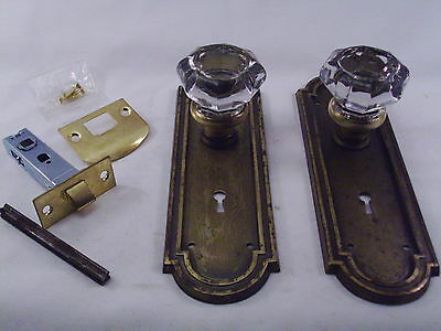 Antique  Glass Door Knob Set Modern Door Conversion Retrofit   #622