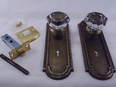 Antique  Glass Door Knob Set Modern Door Conversion Retrofit  2 sets avail #622
