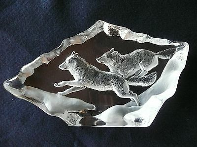 Mats Jonasson Maleras Crystal Large Wolves Wolf Pair Leaping Sculpture Sweden