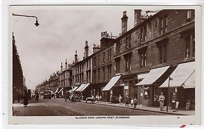 GLASGOW ROAD, LOOKING WEST, CLYDEBANK: Dunbartonshire postcard