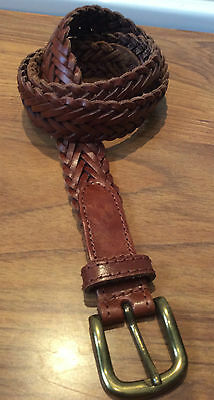 "vintage  M&S ~ brown leather plaited/woven belt - brass buckle ~ M - up to 30"" W"