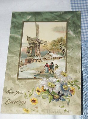1907 American New Year Greetings Postcard Posted.
