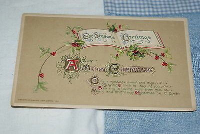 1912 American Merry Christmas Postcard Posted.