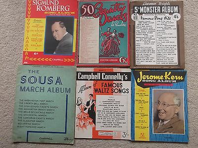 A Vintage Collection Of 6 Books of Sheet Music - Dance and Songs