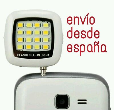Flash luz 16 led para smartphone, movil,selfie, palo selfie