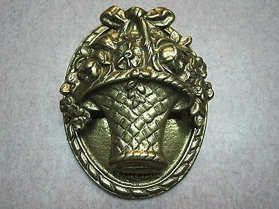 Vintage heavy Brass Door Knocker ~ Shape of a Flower Basket 3 x 4 inch