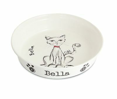 Personalised Scribble Cat Food/Water Bowl - Ceramic - Any Name - Free Delivery