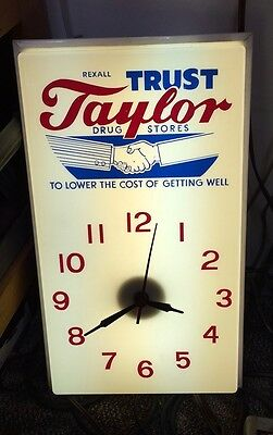 Vintage Unique Rexall Taylor Drug Stores Lighted Hanging/Wall Clock