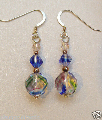 Sterling Silver drop Earrings with Vintage Iris rainbow Czech Crystals BOXED