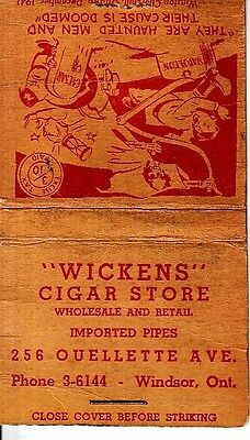 Wickens Cigar Store 256 Ouellette Ave. Windsor Ontario Canada Old Matchcover