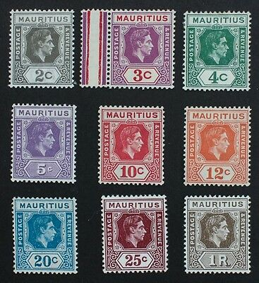 MAURITIUS - SG252-260 King George VI 1938-49. 9 Mounted Mint MM.