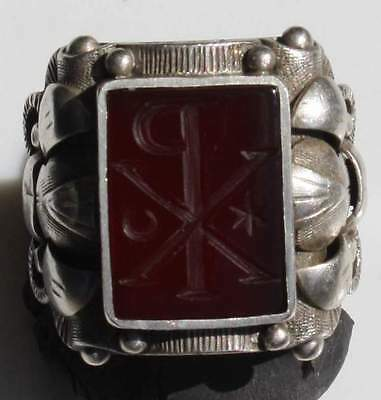 Solid Late Victorian Silver Christian Intaglio Seal Ring