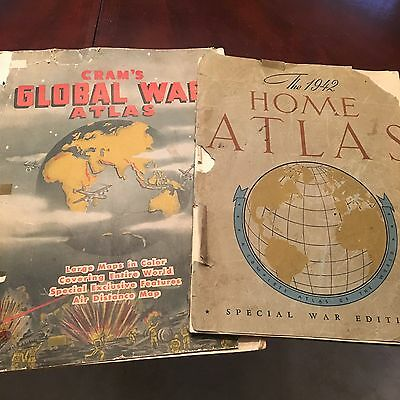WWII 2-WAR EDITION ATLASES/1942-Clement/1939-Cram's & New York Times 12/8/1941