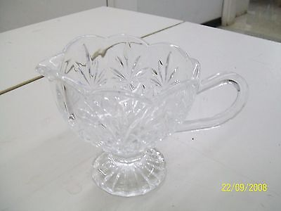 Pressed Crystal Pitcher/sauce Dish