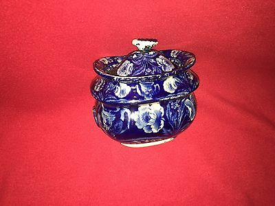 Historical Staffordshire Dark Blue Eagle On Urn Sugar Bowl By Clews Ca. 1825