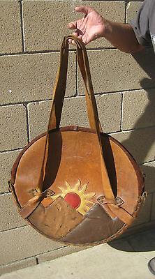 VTG ANTIQUE ASTRONOMY CELESTIAL CHART Zodiac MAP LEATHER CARRYING CASE