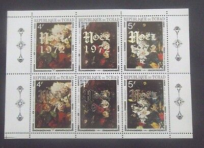 Chad-1972-6 stamp Christmas Minisheet-MNH