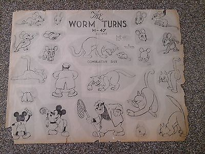 """Model Sheet For Disney's """"the Worm Turns"""" 1937"""